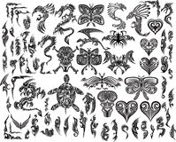 Dragons Butterfly Eagle Tattoo set. Iconic Dragons Butterfly Eagle Tattoo Tribal Vector Set Stock Images