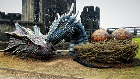 Dragons in Caerphilly Castle Stock Photography