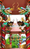 Dragons in chinese temple. Dragons on columb in chinese temple Royalty Free Stock Photo