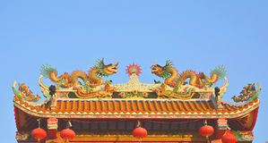 Dragons on the Chinese temple roof. Dragons on the Chinese temple roof in Thailand Stock Photography