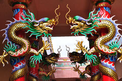Dragons in chinese temple. Dragons statue on columb in chinese temple Stock Photos