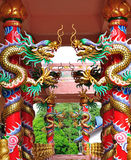Dragons in chinese temple. Dragons stucco in chinese temple Royalty Free Stock Image
