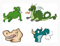 Dragons collection. Cartoon vector illustration of a dragons collection Royalty Free Stock Images