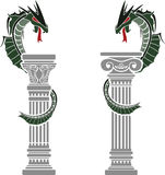 Dragons and columns Royalty Free Stock Images