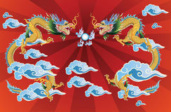 2 dragons and crystal ball. On red background. vector royalty free illustration