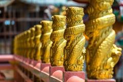 Dragons d'or sur le balcon Photos libres de droits