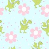 Dragons de bande dessinée en fleurs Modèle floral lumineux puéril dans le vecteur Photographie stock