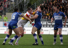 Dragons de Catalans contre des guerriers de Wigan Photographie stock