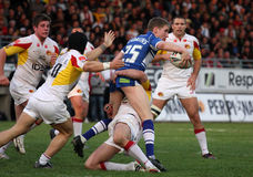 Dragons de Catalans contre des guerriers de Wigan Photographie stock libre de droits