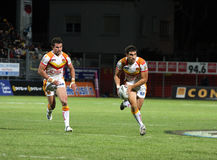 Dragons de Catalans contre des loups de Warrington Image libre de droits