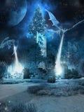 Dragons de glace et arbre de Noël Image libre de droits