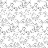 Dragons doodle seamless pattern Stock Images