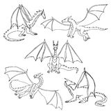 Dragons doodle set. Dragons doodle hand drawn set. Children sketch fantasy animals Royalty Free Stock Photo
