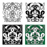 Dragons entwined in traditional celtic ornaments. Medieval dragons with entwined tails and wings in traditional celtic knot ornaments for tattoo or heraldry Stock Photography