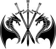 Dragons et épées Photo libre de droits