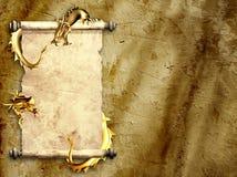 Dragons et rouleaux de vieux parchemin illustration de vecteur