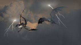Dragons Fighting in Storm Clouds. Two dragons fighting an aerial battle during a lightning storm, 3d digitally rendered illustration Stock Photo