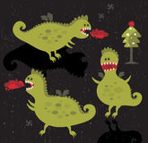 Dragons with fire and christmas tree. Vector icons Royalty Free Stock Photos