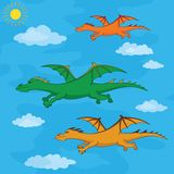 Dragons flies in the blue sky Stock Photography