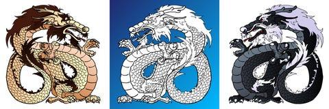 Dragons forts colorés et ligne-art Image stock