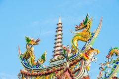 Dragons and gods on the eaves(traditional temple eaves) Stock Photo