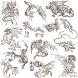 Dragons. An hand drawn freehand sketches. Originals. DRAGONS. Collection of an hand drawn full sized illustrations (freehand sketches, originals). Drawings on Royalty Free Stock Image