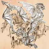Dragons - An hand drawn vector. Line art. Stock Images