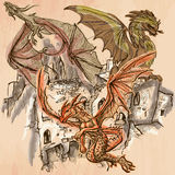 Dragons - An hand drawn vector. Line art. Royalty Free Stock Photography