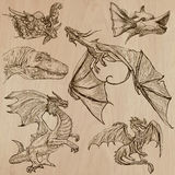 Dragons. An hand drawn vectors in one pack. DRAGONS. Collection of an hand drawn illustrations (line art vectors - pack no.3). Each drawing comprises of three Stock Images