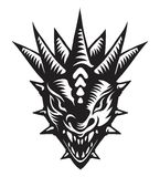 Dragons head, tattoo. Graphic vector illustration of the dragons head Stock Photos