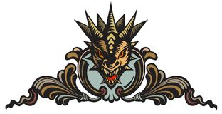 Dragons head, tattoo. Graphic vector illustration of the dragons head in ornate shield royalty free illustration