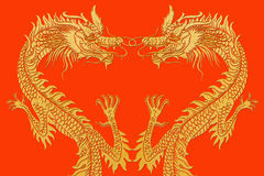 Dragons Heart Shape on Red. Royalty Free Stock Image