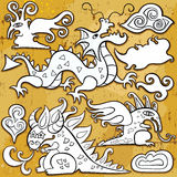 Dragons, icon set. Dragons, Chinese New Year symbols 2012. Vector set of sketchy, doodle dragons and decorative design elements. Little fairy dragon, cheerful stock illustration
