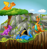 Dragons living in the cave Royalty Free Stock Images