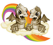 Dragons lovers. Retro dragons on the isolated background Royalty Free Stock Photos