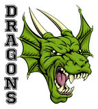 Dragons Mascot. An illustration of a cartoon dragon sports team mascot with the text Dragons Stock Photo