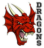 Dragons Mascot. An illustration of a cartoon red dragon sports team mascot with the text Dragons stock illustration