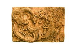 Dragons and monkey sculpture Stock Images