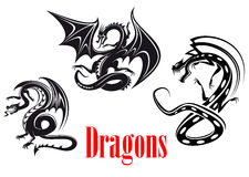 Dragons noirs de danger illustration stock