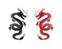 Dragons orientaux noirs et rouges de vecteur sur le fond blanc, art de tatouage, éléments graphiques illustration de vecteur