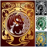 Dragons and ornaments set 2. Beautiful ornamental frame with dragon (variants Stock Photography