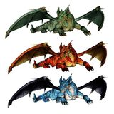 Dragons with outstretched wings in green red and blue. Three isolated dragons in green red and blue color with outstretched wings lying on the ground stock illustration