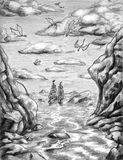 Dragons over the sea. Fantasy drawing of dragons flying in the sky above the sea and a ship. Pencil drawn sketch stock illustration