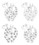 Dragons with patterns, contours Stock Photos