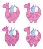 Dragons with patterns. Set Dragons with valentine hearts and floral patterns. Vector Royalty Free Stock Photo