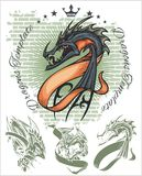 Dragons and ribbons - vector set. Stock Stock Image