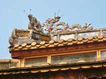 Dragons on the roof of a temple in Vietnam stock images