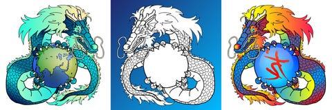 Dragons sages colorés et ligne-art Image stock