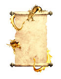Dragons and scroll of old parchment. Object isolated on white background Royalty Free Stock Photo