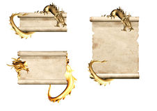 Dragons and scrolls of old parchments Stock Images